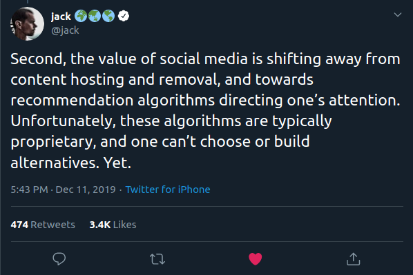 Second, the value of social media is shifting away from content hosting and removal, and towards recommendation algorithms directing one's attention. Unfortunately, these algorithms are typically proprietary, and one can't choose or build alternatives. Yet.