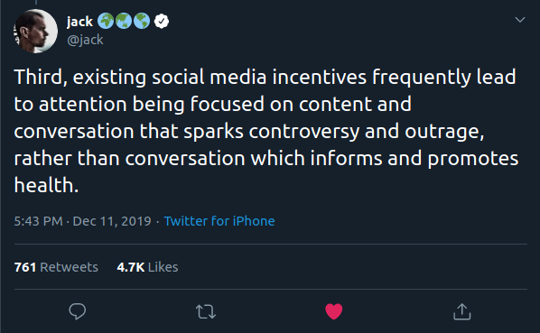 Third, existing social media incentives frequently lead to attention being focused on content and conversation that sparks controversy and outrage, rather than conversation which informs and promotes health.