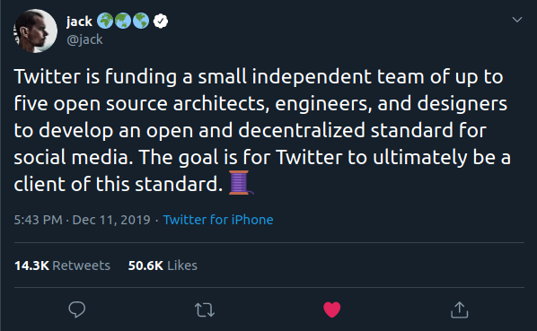 Twitter is funding a small independent team of up to five open source architects, engineers, and designers to develop an open and decentralized standard for social media. The goal is for Twitter to ultimately be a client of this standard.  🧵