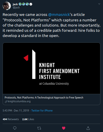 """Recently we came across @mmasnick 's article """"Protocols, Not Platforms"""" which captures a number of the challenges and solutions. But more importantly, it reminded us of a credible path forward: hire folks to develop a standard in the open."""