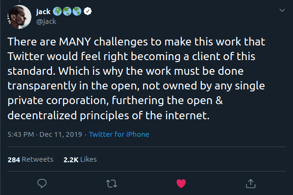 There are MANY challenges to make this work that Twitter would feel right becoming a client of this standard. Which is why the work must be done transparently in the open, not owned by any single private corporation, furthering the open & decentralized principles of the internet.